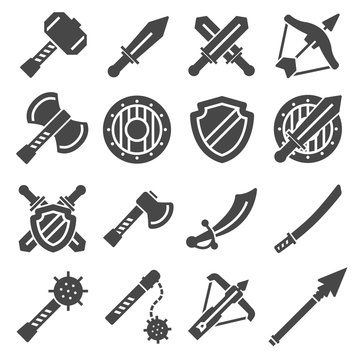 Medieval weapons and armors set. Medieval warrior equipment. Sword, sabre, dagger, axe, male