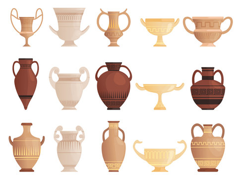 Old ancient vessel. Clay jug cups and amphoras with patterns ceramics antique jug vector pictures. Illustration of ancient vase, jar container and pot