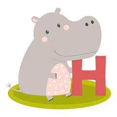 cute animal alphabet with hippo