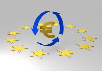 euro and dollars symbol, 3d illustration