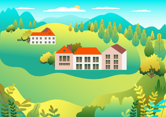Poster Groene koraal Rural valley Farm countryside. Village landscape with ranch in flat style design. Landscape with house farm family, barn, building, hills, tree, mountains, background cartoon vector illustration