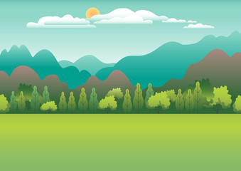 Hills and mountains landscape in flat style design. Valley background. Beautiful green fields, meadow, and blue sky. Rural location in the hill, forest, trees, cartoon vector illustration