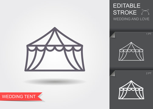 Wedding tent. Line icon with shadow and editable stroke