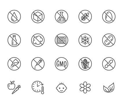 Natural food flat line icons set. Sugar, gluten free, no trans fats, salt, egg, nuts, vegan vector illustrations. Thin signs for packaging, expiration date. Pixel perfect 64x64. Editable Strokes