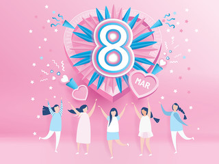 abstract music background with happy women