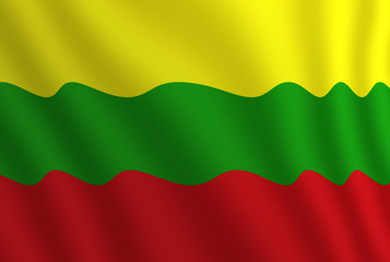 Graphic illustration of a flying Lithuanian flag