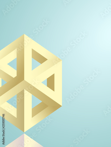 Impossible figures isometric 3d hollow cubes in Escher style