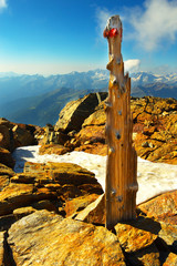 Woody stake with mountains on backgroud