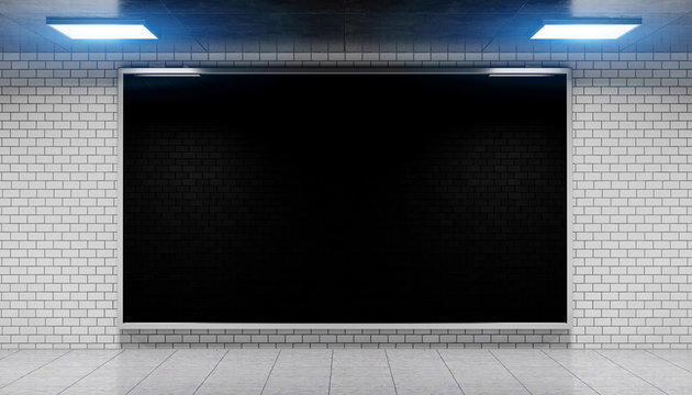 Advertisement billboard in subway station 3d rendering