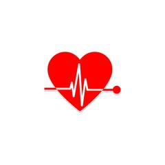 Red Pulse in heart sign or icon