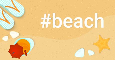 Hashtag beach concept flat vector illustration of landscape summer banner