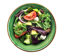 Bowl with tasty vegetable salad on white background