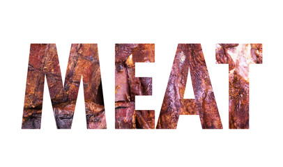 Conceptual collage in form of word meat isolate