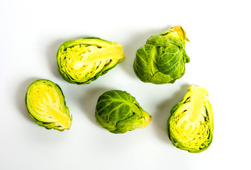 Canvas Prints Brussels Brussels sprout vegetables on white background