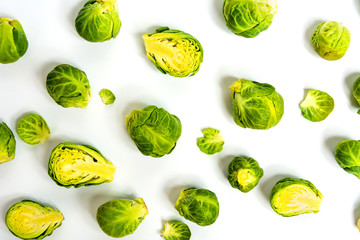 Poster Brussels Brussels sprout vegetables on white background
