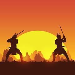 Silhouette of two Japanese Samurai sword fighting, Vector Illustration