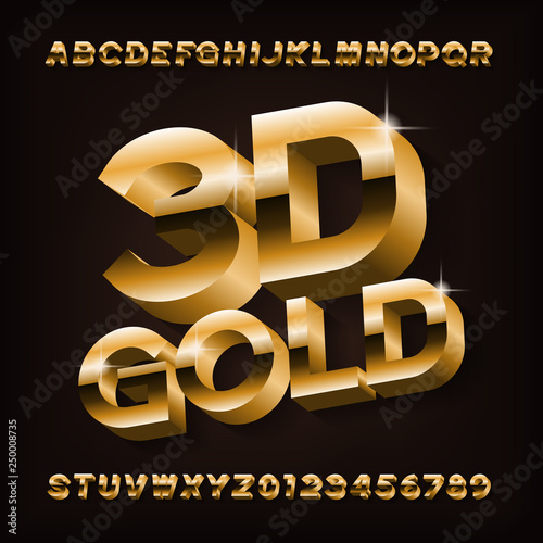3D gold typeface font  Golden effect letters and numbers