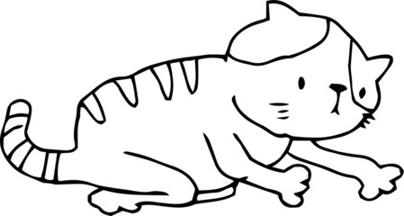 Bad hand-painted pretty cat illustration outline