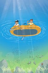 Fisherman Children on The Boat. Digital Illustration for Children Books, Magazines, Web Pages, Blogs.