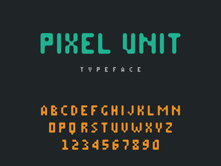 Vector pixel latin alphabet letters and numbers. Rounded pixel font