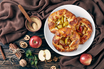 open apple pies, galettes with apple slices