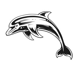 Dolphin Black and White Contrast Vector Art