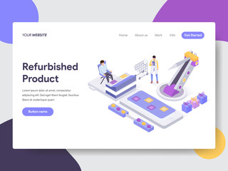 Landing page template of Refurbished Product Illustration Concept. Isometric flat design concept of web page design for website and mobile website.Vector illustration