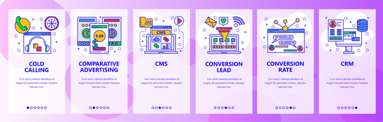 Web site onboarding screens. Call center, CMS, CRM systems, conversion rate. Menu vector banner template for website and mobile app development. Modern design flat illustration.