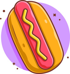 Vector hot dog in beautiful colors. Fast food