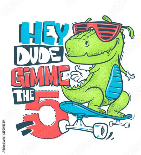 Skateboard Dinosaur Urban T Shirt Print Design Vector
