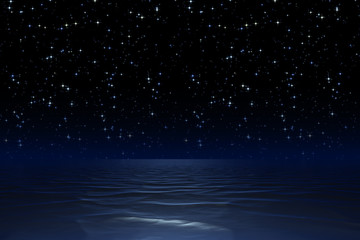 starry night sky at the ocean