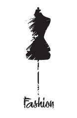 Fashion Mannequin icon. Stylized silhouette on white background