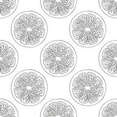Seamless pattern made from lemon, grapefruit, orange, lime. for packaging, advertisements. Isolated image. Black and white. Vector illustration.. Hand drawn endless picture.