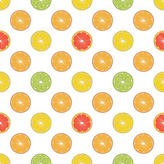 Seamless pattern made from lemon, grapefruit, orange, lime. for packaging, advertisements. Isolated image. Vector illustration.. Hand drawn endless picture.