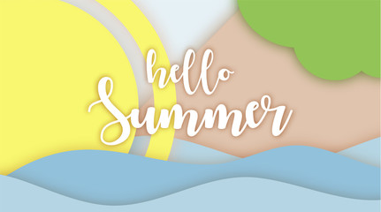Hello Summer lettering Paper Applique origami art. Relaxed Sea view in summertime. Morning Sunrise. 3D Layered Paper Cuted Exotic craft banner. Layout for presentation, add.