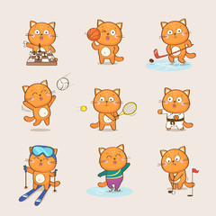 Set of cute cartoon cat character representing different sports: chess, basketball, hockey, volleyball, tennis, karate, skiing, figure skating, golf. Sport and health vector collection