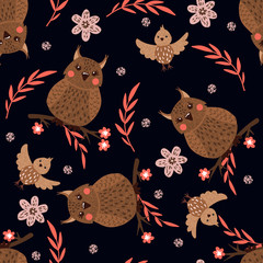 Seamless pattern with cute owls on black.