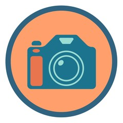 Photographic camera vector icon in a round frame