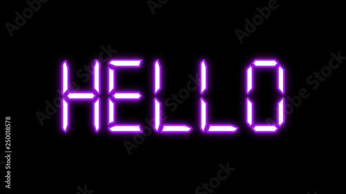 Glowing Led purple neon lights hello word isolated on black