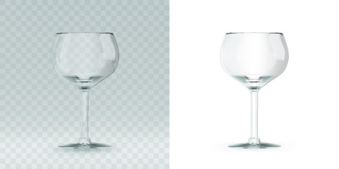 Empty transparent 3D rendered wine glass for drinking alcohol