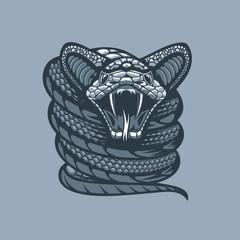 Twisted Viper .Monochrome tattoo style.