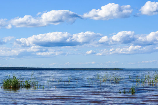 Blue sky with Cumulus clouds over the Lake Ladoga shore