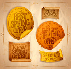 New and best spring offers, exclusive offer, spring savings, special discount, sale stickers