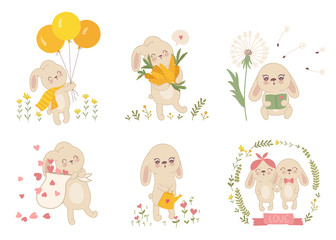 Vector sticker collection with cute spring rabbits