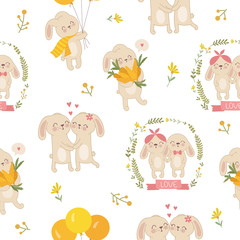 Vector seamless pattern with cute rabbits and flowers