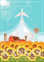 Foto auf Gartenposter Turkis Kansas is a US state. Vector concept of tourist postcard and souvenir. Beautiful places of the United States of America on posters.