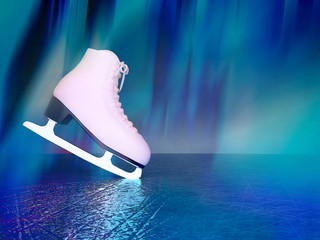 Concept of figure skating. The skates for figure skating located on skating rink. Wall mural