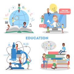 Education web banner set. Idea of learning
