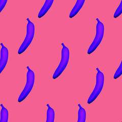 Banana pattern Minimal style Surreal seamless pattern with bright bananas on a coral background