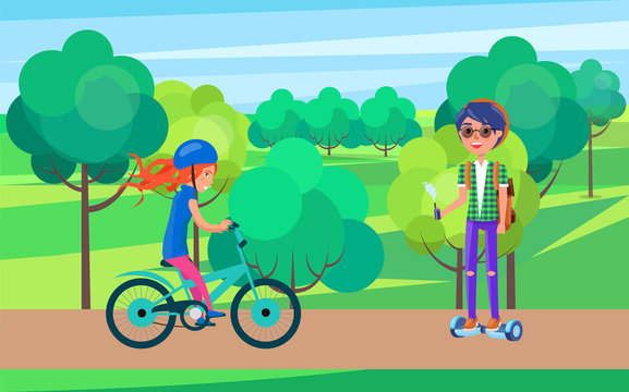 Students teenagers on bike and hoverboard vector. Female and male teen people in park, biker wearing helmet and person riding gyroscooter with vape